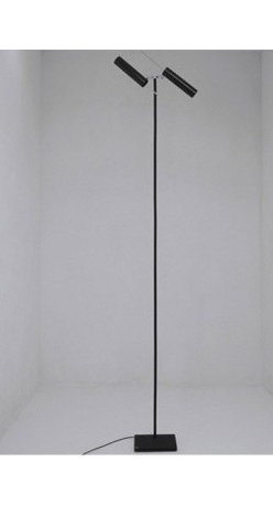 """Catellani & Smith - Lucenera 507 floor lamp - Product description:  The series 500 is the high-tech version in the Lucenera line. The use of low voltage 12 V - 50W bulbs with a 10° dish and the possibility to increase or decrease the volume of the light beam make this a highly practical work tool for lighting professionals. Its simplicity and versatility make it the ideal system for lighting display areas, exhibitions, shops, restaurants and bars. Magical in both domestic and work environments.  The Lucenera 507 floor lamp features two black, unidirectional fibre tubes with high heat resistance. The base consists of rubber black painted steel with a black Dekabon tube and shiny nickel brass details. It comes with an electronic 120W dimmer. New! LED version available      Details:                                Manufacturer:                             Catellani & Smith                                                Designer:                             Enzo Catellani                                                Made in:              Italy                                  Dimensions:                             base: 9.84"""" x 9.84"""" (25 x 25cm); diffuser tube: d: 2.2"""" (5.6 cm) x lenght: 9.45"""" (24 cm); height: 88.58"""" (225 cm)                                                Light bulb:                            2 x 50W 12V GU5.3 10° light bulb (included) or 2 x 4W GU10 LED                                                Material:               carbon, steel, Dekabon                      Manufacturer:   Carlo Catellani & Logan Smith:   Carlo Catellani was born in Parma in 1960. After leaving school, he started a career as a smith in a workshop in Fornovo. Logan Smith, born in London in 1931, graduated in architecture from Cambridge and soon, due to his love to the world of horses, specialised in the renovation of race tracks and horse clubs. Then the two met in Minorca in the summer of 1985 to a big horse race. The extraordinary euphoria of those evenings gave rise to th"""