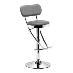ZUO MODERN - Proof Barstool Grey - The Proof Barstool is a modern classic with its elegant swooping shape. It has a leatherette seat and back with a chrome height adjustable swivel base.