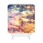 DENY Designs - Shannon Clark Cosmic Shower Curtain - Reach for the stars — and some spacey style — with this shower curtain. Cosmic clouds, constellations and colors realistically printed on woven polyester are sure to add an atmospheric element to your bath. Singing in the shower will truly be stellar.