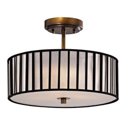 Design Classics Lighting - Bronze Drum Shade Ceiling Light - 14-Inches Wide - DCL 6543-604 SH9468 - Semi-flushmount ceiling light in bronze finish with linear black over white opaque paper drum shade and off-white acrylic diffuser. Features a cream linen barrel shade with uno assembly. Takes (3) 100-watt incandescent A19 bulb(s). Bulb(s) sold separately. UL listed. Dry location rated.