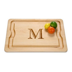 "Monogrammed Barbeque Cutting Board - The J.K. Adams Monogrammed Barbeque Board is the perfect gift for the gourmet cook in your life. Made of one-inch-thick solid maple this classic carving board has a single 4.25-inch initial laser-monogrammed in the center of the cutting surface. The deep juice well is functional and stylish. Any chef will love this personalized board and may be inspired to prepare his specialty dish as a thank you gift. About J.K. AdamsJ.K. Adams has been designing manufacturing and distributing wood products from Dorset Vermont since 1944. Their philosophy can be summed up by the three short phrases painted on large signs hanging from the factory ceiling: """"Quality First. Production Next. Safety Always."""" Judging from the company's longevity and success this business model works. Each J.K. Adams product begins with the finest Northeastern kiln-dried lumber. By combining functionality aesthetics and quality manufacturing techniques the company creates exceptional wooden products that last a lifetime. The J.K. Adams logo a simple arrow pointing to the heavens is derived from the colonial practice of foresters looking for the healthiest straightest trees to be used as ship masts for the King's Royal Navy. The finest wood was marked with this arrow and J.K. Adams uses this symbol to indicate that they too select the best trees in New England for their exceptional products. The company uses lumber that is selectively harvested from managed forests to maintain and improve the health of the North American hardwood forests."