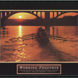 """Amanti Art - Working Together-Teamwork-Crew Framed Print - Perfect for the workplace or for a family setting, this framed print of a rowing team at dawn will inspire any group you wish to lead. The quote at the bottom reads, """"Coming together is a beginning, Keeping together is progress, Working together is success."""" Bring the whole team together when you hang this print on your wall."""