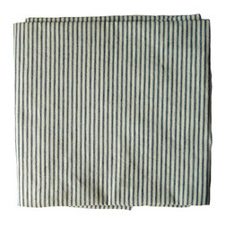 Striped Ticking Tablecloth - This popular ticking stripe has been much copied in recent years, inspired by vintage pieces such as this amazing, unused vintage ticking from the South of France. It has narrow navy stripes on a natural, unbleached background, woven in a twill weave.