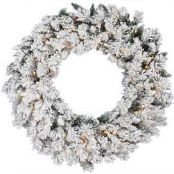 "Vickerman - Flk Snow Ridge Wreath Dura-Lit 100CL (36"") - 36"" Flocked Snow Ridge Wreath  200 PVC Tips,  100 Clear Dura-Lit Lights"