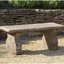 Campania International - Campania International Provencal Cast Stone Backless Garden Bench - BE-106-AL - Shop for Benches from Hayneedle.com! About Campania InternationalEstablished in 1984 Campania International's reputation has been built on quality original products and service. Originally selling terra cotta planters Campania soon began to research and develop the design and manufacture of cast stone garden planters and ornaments. Campania is also an importer and wholesaler of garden products including polyethylene terra cotta glazed pottery cast iron and fiberglass planters as well as classic garden structures fountains and cast resin statuary.Campania Cast Stone: The ProcessThe creation of Campania's cast stone pieces begins and ends by hand. From the creation of an original design making of a mold pouring the cast stone application of the patina to the final packing of an order the process is both technical and artistic. As many as 30 pairs of hands are involved in the creation of each Campania piece in a labor intensive 15 step process.The process begins either with the creation of an original copyrighted design by Campania's artisans or an antique original. Antique originals will often require some restoration work which is also done in-house by expert craftsmen. Campania's mold making department will then begin a multi-step process to create a production mold which will properly replicate the detail and texture of the original piece. Depending on its size and complexity a mold can take as long as three months to complete. Campania creates in excess of 700 molds per year.After a mold is completed it is moved to the production area where a team individually hand pours the liquid cast stone mixture into the mold and employs special techniques to remove air bubbles. Campania carefully monitors the PSI of every piece. PSI (pounds per square inch) measures the strength of every piece to ensure durability. The PSI of Campania pieces is currently engineered at app