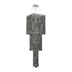 Elegant Lighting - Elegant Lighting 2033G54C-SS Maxim 14-Light, Three-Tier Crystal Chandelier, Fini - Elegant Lighting 2033G54C-SS Maxim 14-Light, Three-Tier Crystal Chandelier, Finished in Chrome with Grey Silver Shade CrystalsElegant Lighting 2033G54C-SS Features: