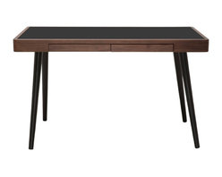 Nuevo Living - Matt Desk, American Walnut/Black - Matt Desk features a primary work surface and two drawers to ensure your desktop stays neat and organized. Tapered solid wooden legs offer reliable stability, and contrast with the melamine desk surface. Matt desk strikes a balance of simple function, timeless style, and quality craft.
