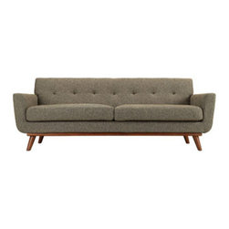 """LexMod - Engage Upholstered Sofa in Oatmeal Tweed - Engage Upholstered Sofa in Oatmeal Tweed - Gently sloping curves and large dual cushions create a favorite lounging spot. Whether plopping down after a long day at work, settling in with coffee and brunch, or entering a spirited discussion with friends, the Engage sofa is a welcome presence in your home. Seven tufted buttons create eye catching appeal; adding depth that brings your sitting decor to center stage. Four cherry color rubber wood legs and frame supply a solid base to the comfortable upholstered material. Set Includes: One - Engage Sofa with wood legs Cherry color rubber wood, White plastic glides, 100% polyster material, Chair Weight Capacity - 440 lbs. Overall Product Dimensions: 33""""L x 90.5""""W x 32.5""""HBACKrest Height: 6""""L x 6""""W x 17.5""""H Seat Dimensions: 24.5""""L x 81""""W x 19""""H Armrest Dimensions: 4.5""""W x 6.5""""H Cushion Thickness: 6""""H - Mid Century Modern Furniture."""