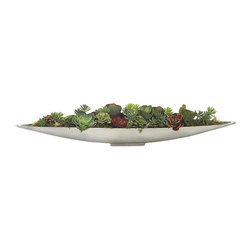 Frontgate - Succulent Garden Display - Canoe style bowl with mercury finish. Designed for indoor use. Use in a home or office for a natural look. The Succulent Garden features multiple artificial greens bedded in a canoe style bowl with a mercury finish. A perfect centerpiece, they require no sun, and always bloom no matter how green your thumb.  .  .  .