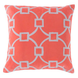 """Surya - Surya RG-046 Glamorously Geometric Pillow, 20"""" x 20"""", Poly Fiber Filler - Give your indoor or outdoor space a fresh, trendy accent with this stunning pillow. Blending geometric shapes, this piece, colored in cool coral with white bordering, is sure to be the perfect focal point for any room. This 18x18 pillow contains a Virgin Poly Styrene Bead fill providing a reliable and affordable solution to updating your indoor or outdoor decor."""