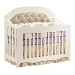 Natart - Natart Alexa Convertible Crib, French White, With Upholsterd Panel - Our Italian heritage provided the inspiration for the Alexa Collection. The culmination of haute couture, Renaissance influences and design expertise is translated into a graceful tapered leg, bentwood curved sides, a convex shaped front, and imported Italian knobs that are hand-dipped in real silver. Alexa, the sister collection to Allegra, epitomizes elegance and luxury with her graceful curves and slender tapered legs.