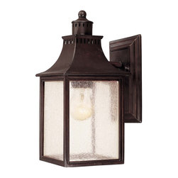 Savoy House - Monte Grande Wall Mount Lantern - A grand welcome for any stately address- at an incredible price. Finished in English Bronze with pale cream seedy glass, these fixtures create an easy appearance of unmistakable exterior elegance.