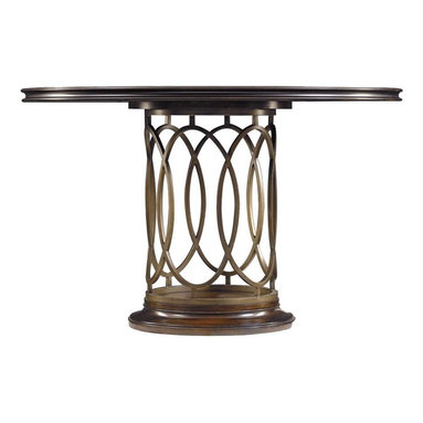 Stanley Furniture - Avalon Heights-Neo Deco Pedestal Table - Interlocking metal ovals create a transfixing base for the Neo Deco Pedestal Table. Reflecting the love of symmetry celebrated in Art Deco works, the ringed motif imparts an open and airy appeal to the table's base. The round, fixed top is the ideal location to highlight the gorgeous splendor of the collection's signature use of mapa burl wood. Combined, the metal and wood produce a design that is inspired by the past, yet completely current.