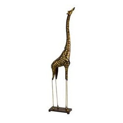 Large Bogata Metal Giraffe - An oversized metal giraffe sculpture stands tall in a gold finish. It's a great decorative jungle accent to add height to any room.