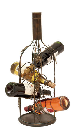ecWorld - Urban Designs Bottle Shaped Metal Wine Rack - 4 Bottle Display - Just the size for narrow and small spaces and an ideal display piece, this wine rack securely and beautifully showcases your favorite vintage wines in its coiled wire vines. Metal leaves and grapes lend depth to the textured metal bottle. Add new warmth to any entertaining area.