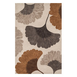 """Loloi Rugs - Eden Ivory and Copper Rug, 3'6""""x5'6"""" - Hand-tufted in China of 100% polyester, the Eden Collection combines bold, over-scale design with a soft color palette throughout. All seven designs are enhanced by a hand-carved finish around the edges of the pattern and a plush surface."""