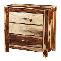 Artemano - Romy Dresser Made of Rosewood , Natural - The simple linear design of the Romy Dresser puts the focus on its beautiful rosewood grain and one-of-a-kind pattern. The bedroom dresser, available in three finishes, has three roomy drawers adorned with sleek silver pulls for a contemporary touch.