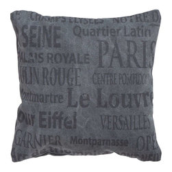 Benzara - Decorative Pillow Decorated with Names of Parisian Landmarks - This fabric pillow assures quality and a beautiful appeal even after long usage. Crafted using top quality cotton material, this pillow fabric has a soft, smooth texture. The cotton used in this fabric prevents the color from fading over time to ensure that the beauty of this pillow fabric remains intact. Available in a charcoal grey color, this pillow fabric is sure to complement room settings in any color. Decorated with names of Parisian landmarks in a bold stylish font, this pillow offers a touch of refined style and grandiose to interiors. A perfect match for couches, arm chairs or divans, this pillow fabric ushers a comfortable, inviting look to your home..
