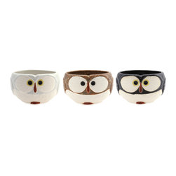 Owl Mug - Didn't you hear? Owls are in. Pick up this cute set, and you won't want them stored away in a cupboard. They'll perch nicely on a nearby shelf.