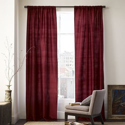 Silk Dupioni Pole Pocket Window Panel - Lustrous silk dupioni is complemented by classic pole-pocket top treatment. Dry-clean. Imported.