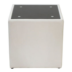 """Diamond Sofa - Steel Bonded Leather End Table with Glass Top - """"The Steel Collection by Diamond Sofa brings a chic, yet simplistically classy addition to any room's decor with this White Leather End Table finished with a Black Oiled Glass Top. Functional for any room in the home, it oozes style and delivers fashionable function to your home's decor."""