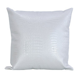 Bijou Coverings - Black Croc faux leather decorative throw pillow combo package, White - The croc print  faux leather pattern on this pillow creates a simple yet luxurious statement. This beautiful design would be a great accent on a side chair or couch mixed with a collection of contrasting patterns. The pillow is filled 100% polyester insert.