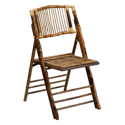 Flash Furniture - Flash Furniture American Champion Bamboo Folding Chair - The American Champion Bamboo Folding Chair from Flash Furniture will add a unique presence to your next indoor or outdoor event. Chairs quickly setup and stack easily to be stored away until your next event. Use these chairs in your dining room, patio, pool area or banquet hall.