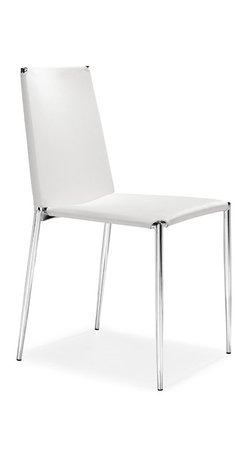 ZUO MODERN - Alex Dining Chair White (set of 4) - Clean lines and shape, this chair works well in the office or in the dining room. The Alex chair stacks and is made with a soft leatherette seat and back with a chromed steel tube frame with rubber feet.