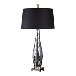 Uttermost Cosmas Mosaic Mirrored Table Lamp - Mosaic mirror tiles with charcoal grout accented with plated gun metal details. Mosaic mirror tiles with charcoal grout accented with plated gun metal details. The tapered round hardback shade is a charcoal black linen fabric with natural slubbing.