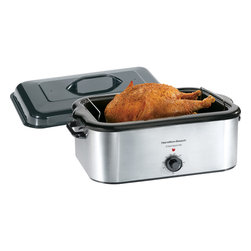 Hamilton Beach - Roaster Oven 22 Qt. - Double your oven space with this Stainless Steel Roaster Oven from Hamilton Beach. It roasts, bakes, cooks and serves and features a removable pan and easy lift-out rack.