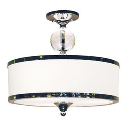 Z-Lite - Z-Lite 307SF 3 Light Semi Flush Mount Ceiling Fixture with Glass Drum Shade from - Z-Lite 307SF 3 Light Semi Flush Mount Ceiling Fixture with Glass Drum Shade from the Cosmopolitan CollectionThe contemporary Cosmopolitan family adds a touch of quiet sophistication to your decor. Milky white glass shades are accented by brushed nickel or chrome bands and are complimented with cascading crystal spheres.Features:
