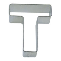 "RM - Letter T 3 In.  Alt - Letter T cookie cutter, made of sturdy tin, Size 3"" tall, Depth 7/8"", color: silver"
