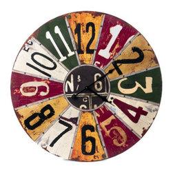 Colorful Primitive Folk Art Wall Clock - Colorful Primitive/Folk Art Wall Clock. Battery operated. Made of wood.