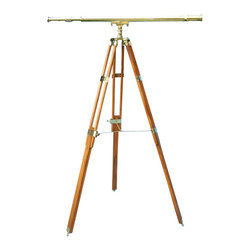 "44-inch Brass Harbormaster Telescope on Teak Tripod - This is not the inexpensive 8 - 12 power decorative version made from thin 0.8 mm brass. This telescope has 32-power precision coated optics and is made with dent-resistant heavy 1.2 mm brass. The telescope uses precision ground glass optics and produces a clear 32-power non-inverted image. For many years, mariners have considered 32-power to be the ideal balance between magnification and field of view. A sunshade protects the objective lens from glare. A removable brass cap protects the objective lens when the telescope is not in use. The telescope is mounted on a heavy solid brass casting and a three-legged solid teak tripod base. The maximum height of the telescope is 61"" and it can be collapsed to a height of 38"". The polished telescope is 43.75"" long, 3"" dia., has a tube outside dia. of 2.25, and an objective lens dia. of 2"". The telescope with tripod weighs 20 lbs. This heavy solid brass telescope is perfect for your office, near a view window, or for celestial observations."