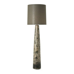 Arteriors Home - Arteriors Home, Detrick Multi Wash Porcelain Floor Lamp - Arteriors Home 77271-347 - Tapered columnar porcelain floor lamp features earthy hues from a multi-wash finish with black detailing. Topped with a tall gray/green cotton drum shade with gray/green cotton lining.