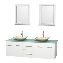 "Wyndham Collection - Centra 72"" White Double Vanity, Green Glass Top, Arista Ivory Marble Sinks - Simplicity and elegance combine in the perfect lines of the Centra vanity by the Wyndham Collection. If cutting-edge contemporary design is your style then the Centra vanity is for you - modern, chic and built to last a lifetime. Available with green glass, pure white man-made stone, ivory marble or white carrera marble counters, with stunning vessel or undermount sink(s) and matching mirror(s). Featuring soft close door hinges, drawer glides, and meticulously finished with brushed chrome hardware. The attention to detail on this beautiful vanity is second to none."