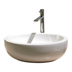 Scarabeo - Oval Shaped White Ceramic Vessel Bathroom Sink, No Hole - Oval shaped white ceramic vessel bathroom sink. Stylish round over the counter sink has no overflow. Made in Italy by Scarabeo.
