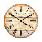 Zentique - Wooden Clock - Turn back time with an old-fashioned wall clock. The distressed wood face, Roman numerals and printing recalling a French café bring the charm of a bygone era to your favorite setting.