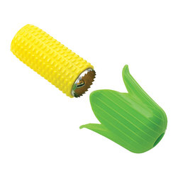 "Kuhn Rikon - Kuhn Rikon Corn Twister - Delight people of all ages with this brilliant new way to make a natural treat fun to prepare. The Corn Twister by Kuhn Rikon features a food safe silicone leaf that protects fingers and provides a good grip as you easily twist kernels off the cob into a delicious mound of golden corn. Simply insert ear of corn into the sharp metal ""cob"", attach ""leaves"" then effortlessly push and twist."