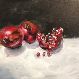 Pomegranates (Original) by Fontaine Jacobs - There are painting that roll around in my head begging to be painted. This is one of them. Setting up a still life with strong light and shadow is a great way to paint. I enjoyed creating the light, dark and texture of my subject matter as it popped off the canvas.