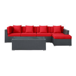 East End Imports - Signal 5 Piece Sectional Set in Espresso Red - Engage adaptively with the Signal Outdoor Set. Embed your environs with clues for attaining allostasis with an alert orange and white design that focuses your natural acumen. Command success in progressive steps with a piece that neutralizes outside distractions.