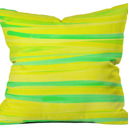 DENY Designs - Rebecca Allen Lime Strokes Throw Pillow - Wanna transform a serious room into a fun, inviting space? Looking to complete a room full of solids with a unique print? Need to add a pop of color to your dull, lackluster space? Accomplish all of the above with one simple, yet powerful home accessory we like to call the DENY throw pillow collection! Custom printed in the USA for every order.