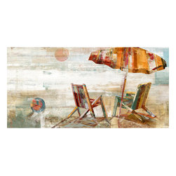Yosemite Home Decor - Shaded Vista II Art - If you love the beach with its ocean breeze, relaxing calm, and warm sand, bring this painting home to remind you of such a peaceful getaway. This painting is a depiction of two wooden beach chairs in the sand with an umbrella in a rainbow of sun faded colors with a faint blue sky. In the distance you'll notice the sun over the horizon.