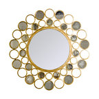 Worlds Away - Worlds Away Bubbles Gold leafed Mirror - Circles of gold-leaf bubbles surround this unique round mirror that will turn your reflection into a work of art.