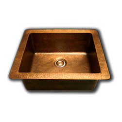 TCS Home Supplies - Natural Coffee Hand Hammered Finish Copper Undermount / Drop In Kitchen Sink - *High quality heavy duty 16 gauge  copper.