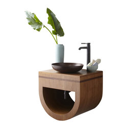 "Native Trails - 23 Inch Single Sink Bath Vanity in Caramel Bamboo - Halcyon is named for a mythical bird that breeds in a floating nest at sea during the winter solstice, known to charm the wind and calm the waves. Bring that serenity to your powder room or guest bath with Halcyon's compact, contemporary design. With a solid Caramel bamboo top and beautiful accent of inlaid Woven Strand bamboo, Halcyon will indeed lend charm and calm to you bath design. Dimensions: 23""W X 22""D X 19.5""H; Counter Top: Bamboo; Finish: Caramel Bamboo w/ Woven Strand Bamboo inlay; Features: 1 Cubby Hole; Hardware: N/A; Sink(s): Your Choice of Copper Sink; Faucet: See Cut out Configuration Choices; Assembly: Light Assembly Required; Large cut out in back for plumbing; Included: Base Cabinet; Not Included: Countertop, Sink, Backsplash, Faucet, Mirror"