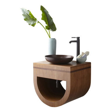 """Native Trails - Single Sink 23"""" Bath Vanity in Caramel Bamboo - Halcyon is named for a mythical bird that breeds in a floating nest at sea during the winter solstice, known to charm the wind and calm the waves. Bring that serenity to your powder room or guest bath with Halcyon's compact, contemporary design. With a solid Caramel bamboo top and beautiful accent of inlaid Woven Strand bamboo, Halcyon will indeed lend charm and calm to you bath design. Dimensions: 23""""W X 22""""D X 19.5""""H; Counter Top: Bamboo; Finish: Caramel Bamboo w/ Woven Strand Bamboo inlay; Features: 1 Cubby Hole; Hardware: N/A; Sink(s): Your Choice of Copper Sink; Faucet: See Cut out Configuration Choices; Assembly: Light Assembly Required; Large cut out in back for plumbing; Included: Base Cabinet; Not Included: Countertop, Sink, Backsplash, Faucet, Mirror"""