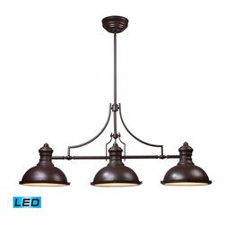 Elk Lighting - Landmark Lighting Chadwick 66135-3-LED 3-Light Billiard/Island Light in OiLED Br - 66135-3-LED 3-Light Billiard/Island Light in OiLED Bronze - LED - 800 Lumens belongs to Chadwick Collection by Landmark Lighting The Chadwick Collection Reflects The Beauty Of Hand-Turned Craftsmanship Inspired By Early 20Th Century Lighting And Antiques That Have Surpassed The Test Of Time. This Robust Collection Features Detailing Appropriate For Classic Or Transitional decors. White Glass Compliments The Various Finish Options Including Polished Nickel, Satin Nickel, And Antique Copper. Amber Glass Enriches The OiLED Bronze Finish. - LED, 800 Lumens (2400 Lumens Total) With Full Scale Dimming Range, 60 Watt (180 Watt Total)Equivalent , 120V Replaceable LED Bulb Included Light Billiard (1)