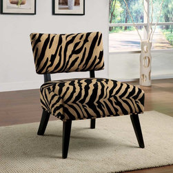 Coaster - Multi Color Contemporary Accent Chair - Oversized seating accent chair in a zebra print fabric and walnut finished legs.