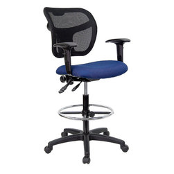 Flash Furniture - Flash Furniture Mid-Back Mesh Drafting Stool in Navy Blue - Flash Furniture - Drafting Chairs - WLA7671SYGNVYADGG - Drafting Stools can be used in a multitude of environments including School Work and for the Home. Drafting stools makes it easier for the user when they need or prefer more height to comfortably get in and out of chairs. The breathable mesh back keeps you cool when sitting for long periods of time. The firm comfortably padded seat will keep you at ease during work or while leisurely browsing. [WL-A7671SYG-NVY-AD-GG]